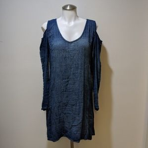 Anthropologie Dresses - Cloth & Stone Open Shoulder Chambray Tunic Dress